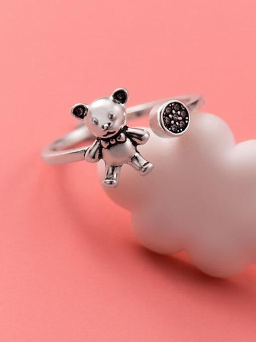 Rosh 925 Sterling Silver Rhinestone Bear Cute Band Ring