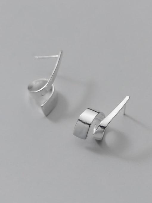 Rosh 925 Sterling Silver Irregular Line Minimalist Stud Earring 4