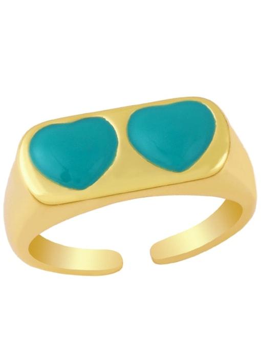 green Brass Enamel Heart Minimalist Band Ring