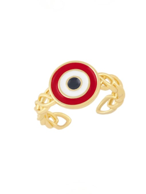 red Brass Enamel Evil Eye Vintage Band Ring