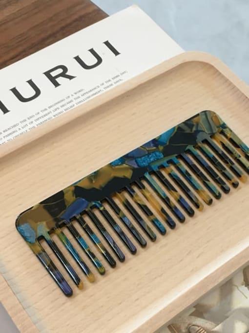 K054 Blue Gold Cellulose Acetate Minimalist Geometric Hair Comb