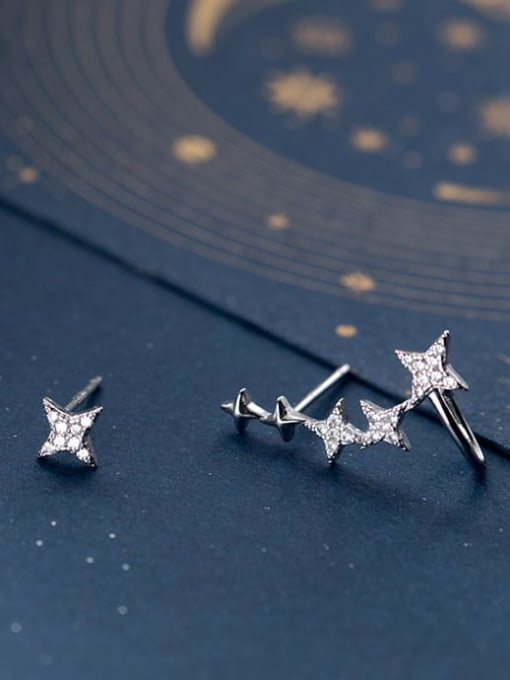 Rosh 925 Sterling Silver Cubic Zirconia Asymmetric  Star Dainty Stud Earring 0
