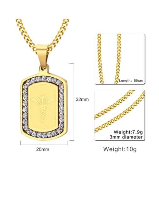 CONG Titanium Steel Rhinestone Geometric Minimalist Necklace 2