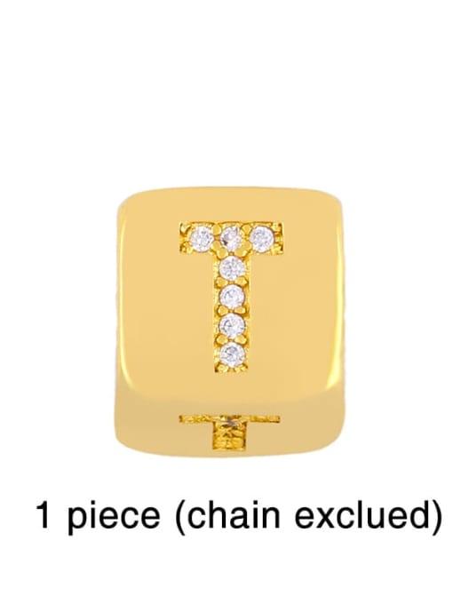 T Brass Cubic Zirconia square Letter Minimalist Adjustable Bracelet