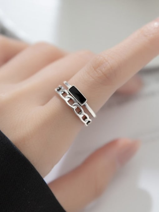 Rosh 925 Sterling Silver Acrylic Geometric Vintage Stackable Ring 1