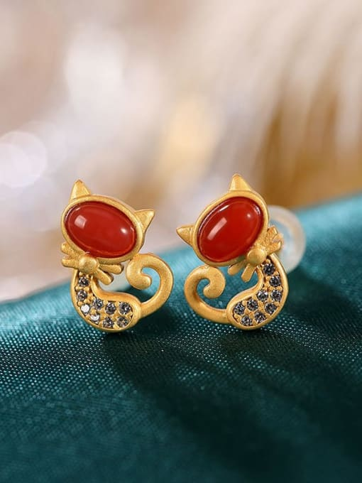 DEER 925 Sterling Silver Carnelian Cat Cute Stud Earring 0
