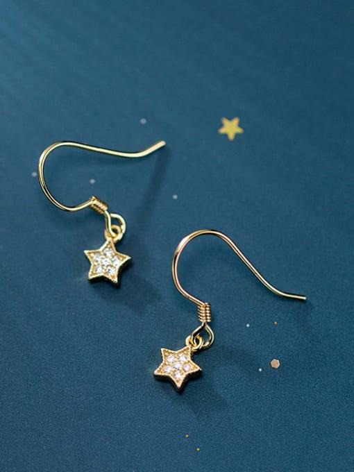 Rosh 925 Sterling Silver Cubic Zirconia Star Minimalist Hook Earring 2