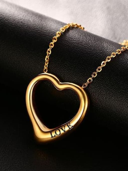 CONG Stainless steel Hollow Heart Minimalist Necklace 3