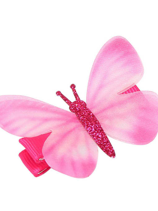 6 Alloy Fabric Cute Butterfly  Multi Color Hair Barrette