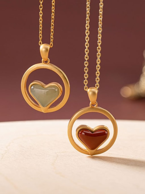DEER 925 Sterling Silver Carnelian Vintage Heart Pendant