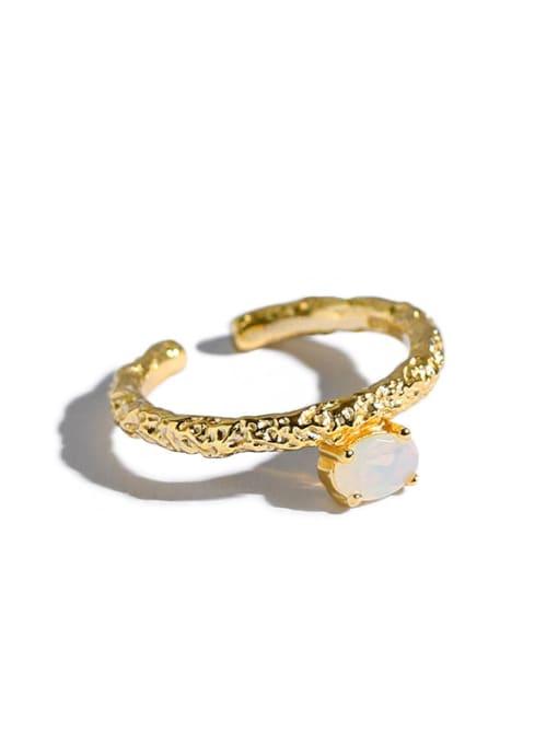 Dak Phoenix 925 Sterling Silver Opal Geometric Minimalist Band Ring 0