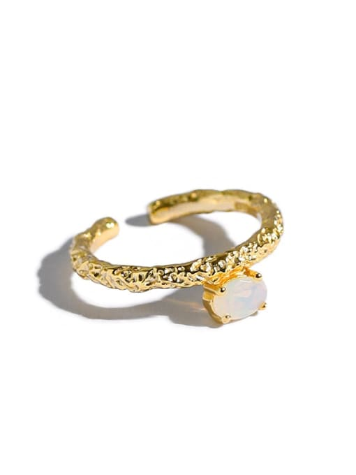Dak Phoenix 925 Sterling Silver Opal Geometric Minimalist Band Ring