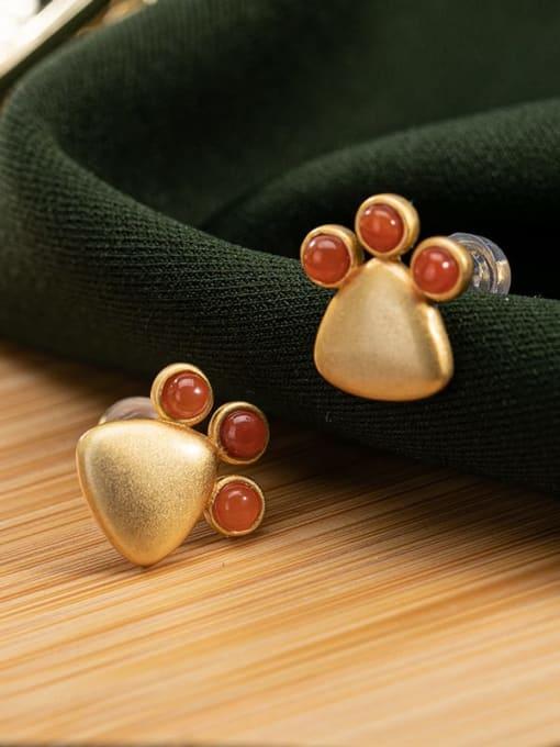 DEER 925 Sterling Silver Carnelian Triangle Vintage Stud Earring 2