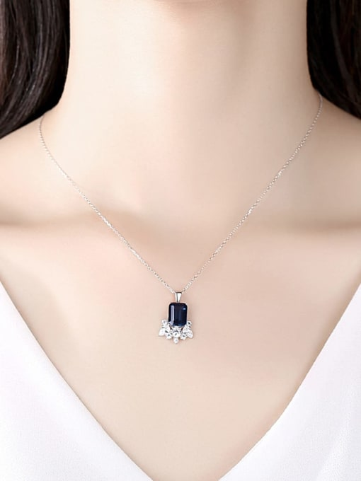 CCUI 925 Sterling Silver Cubic Zirconia Geometric Dainty Necklace 1