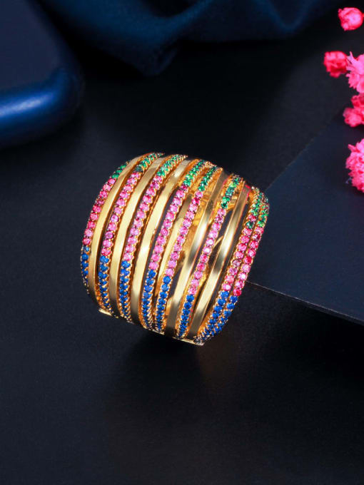 gold Brass Cubic Zirconia Geometric Luxury Stackable Ring