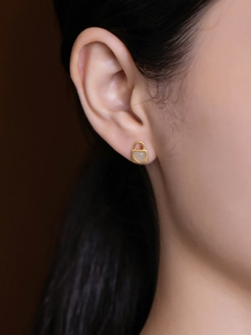 DEER 925 Sterling Silver Jade Locket Vintage Huggie Earring 1