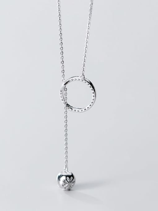 Rosh 925 Sterling Silver Rhinestone White Round Minimalist Lariat Necklace 3