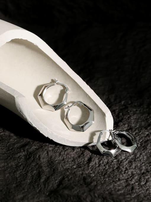 DAKA 925 Sterling Silver Geometric Minimalist Huggie Earring 1