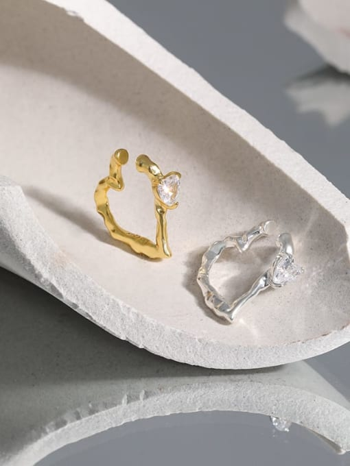 DAKA 925 Sterling Silver Cubic Zirconia Heart Minimalist Single Earring 1