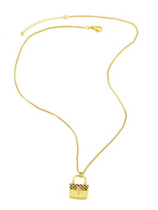 CC Brass Cubic Zirconia Enamel Geometric Minimalist Necklace 3