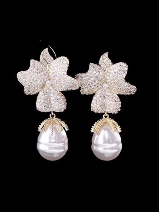 Luxu Brass Cubic Zirconia Flower Trend Drop Earring 1