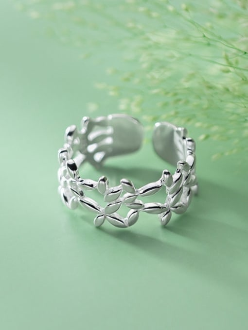 Rosh 925 Sterling Silver Hollow Flower Minimalist Band Ring 1
