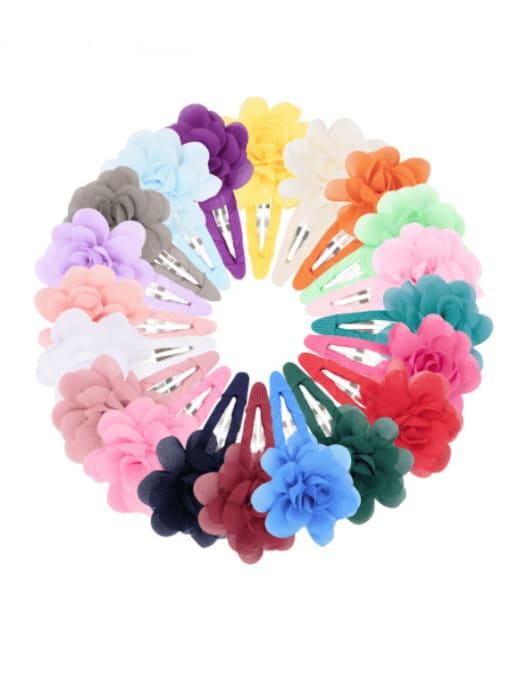 YOKI KIDS Alloy Yarn Minimalist Flower  Multi Color Hair Barrette