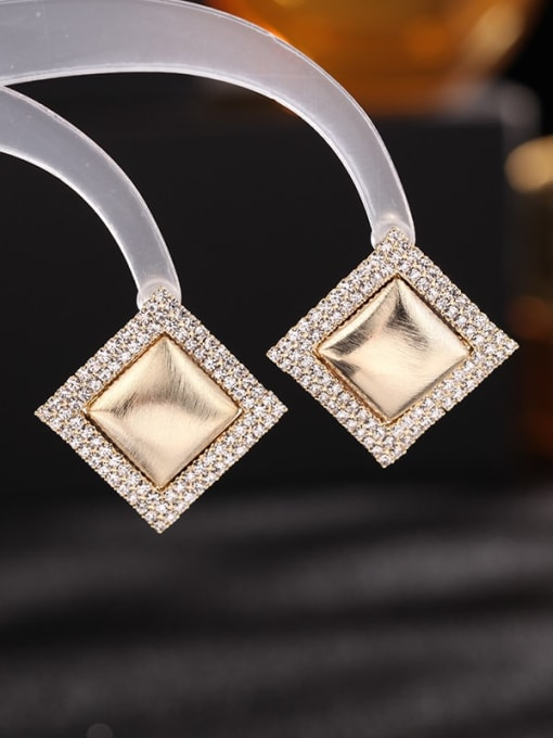 golden Brass Cubic Zirconia Geometric Trend Stud Earring