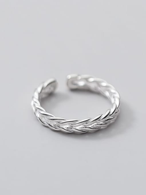 Rosh 925 Sterling Silver Leaf Minimalist Band Ring 1