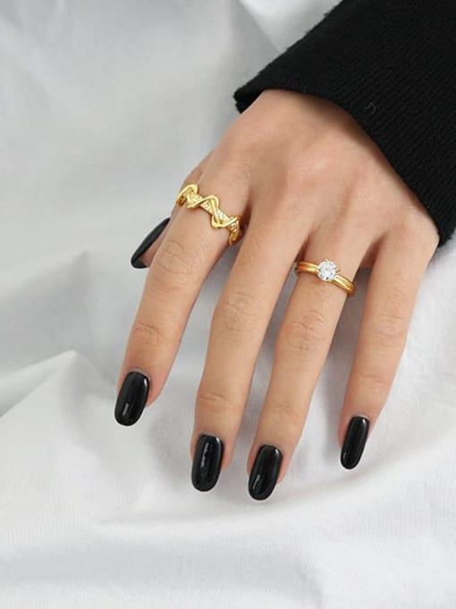 DAKA 925 Sterling Silver Cubic Zirconia Irregular Minimalist Band Ring 2