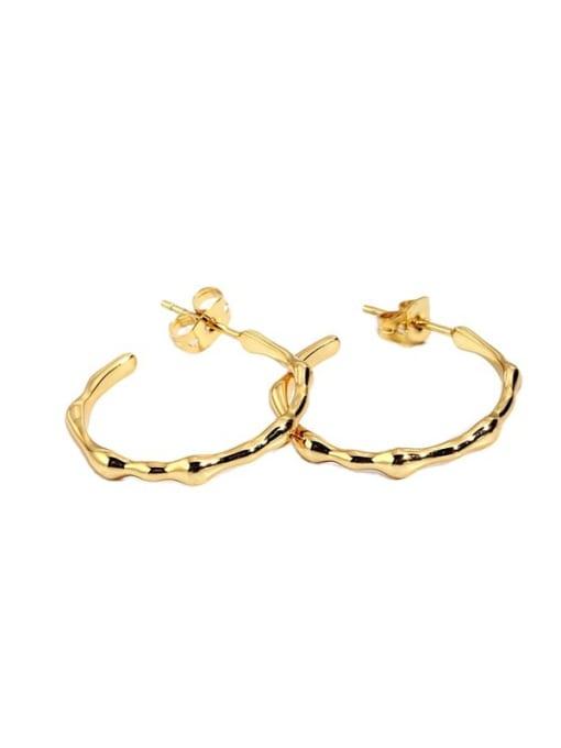 CHARME Brass Smooth  Geometric Minimalist Hoop Earring 2