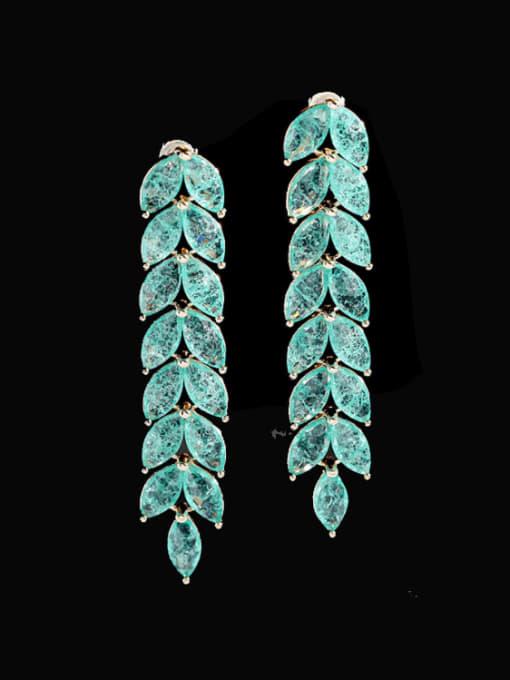 Blue zirconium Brass Cubic Zirconia Leaf Statement Drop Earring