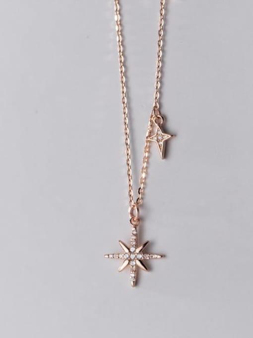 Rosh 925 Sterling Silver Cubic Zirconia Flower Minimalist Necklace 1