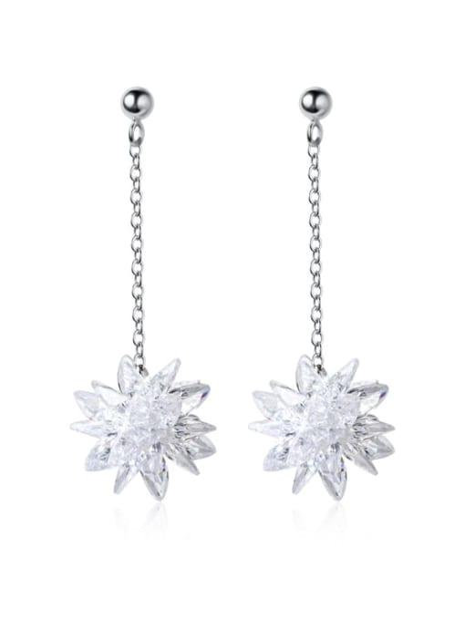 Rosh 925 Sterling Silver Imitation Crystal Flower Hip Hop Threader Earring 3