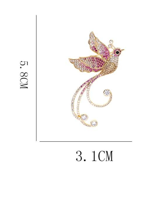 Luxu Brass Cubic Zirconia Bird Ethnic Brooch 4