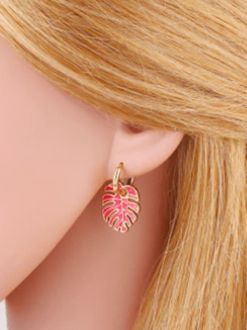CC Brass Enamel Tree  Leaf  Vintage Huggie Earring 1