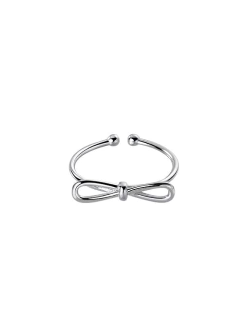 silver 925 Sterling Silver Bowknot Minimalist Band Ring