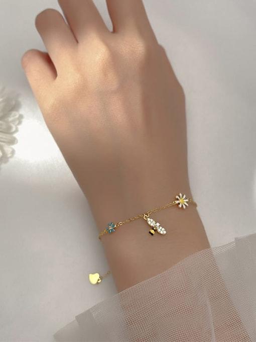Rosh 925 Sterling Silver Enamel Flower Minimalist Link Bracelet 1