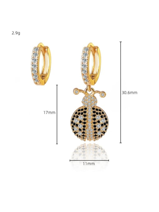DUDU Brass Cubic Zirconia Cute  Asymmetry small ladybug Huggie Earring 2