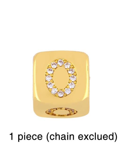 O Brass Cubic Zirconia square Letter Minimalist Adjustable Bracelet