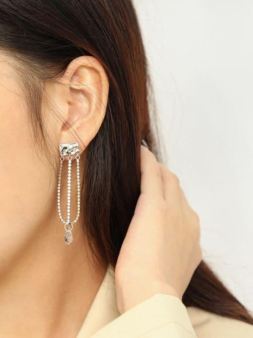 Dak Phoenix 925 Sterling Silver Cubic Zirconia Tassel Minimalist Drop Earring 3