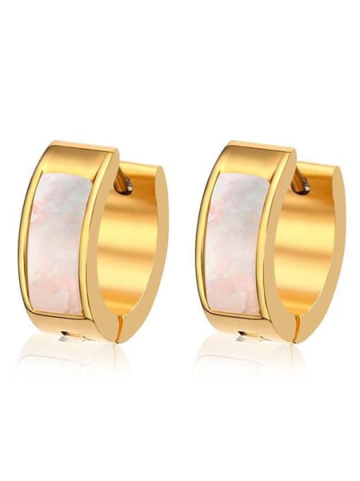 CONG Stainless steel Shell Round Minimalist Huggie Earring 4