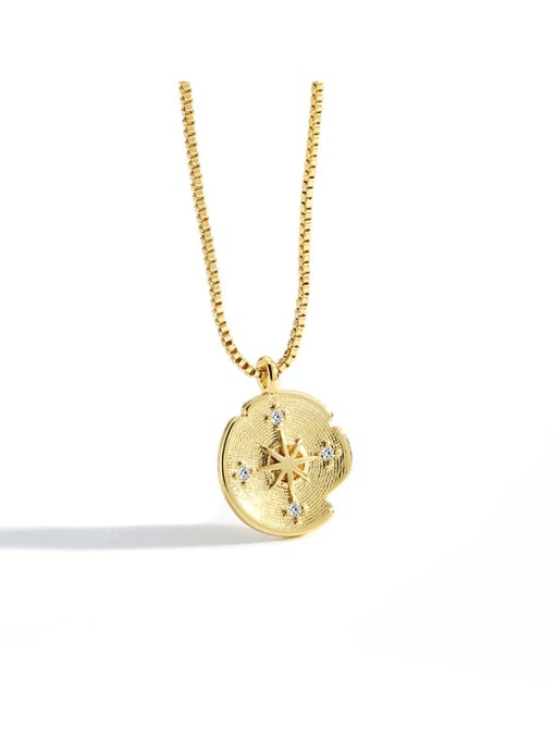 CHARME Brass Cubic Zirconia Round Vintage Meteor compass Pendant Necklace 4