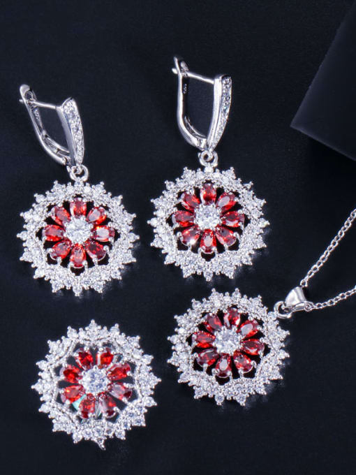 Red ring size 7 Dainty Flower Brass Cubic Zirconia Earring Ring and Necklace Set