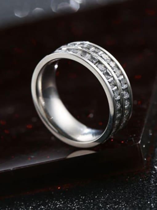 Steel color (double row) Titanium Steel Rhinestone Round Minimalist Stackable Ring