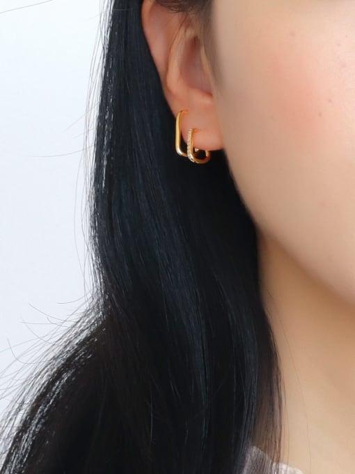 CHARME Brass Rhinestone Double line Geometric Minimalist Stud Earring 2