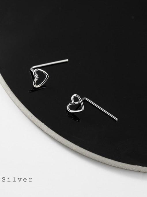 Rosh 925 Sterling Silver Heart Minimalist Stud Earring 3