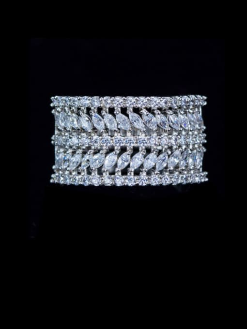 Platinum US 6 Brass Cubic Zirconia Geometric Luxury Statement Ring