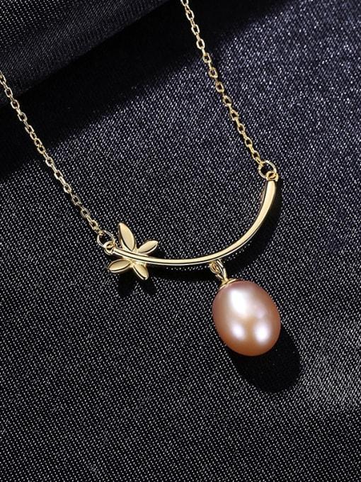 PUrple 8C11 925 Sterling Silver Freshwater Pearl Flower Minimalist Necklace