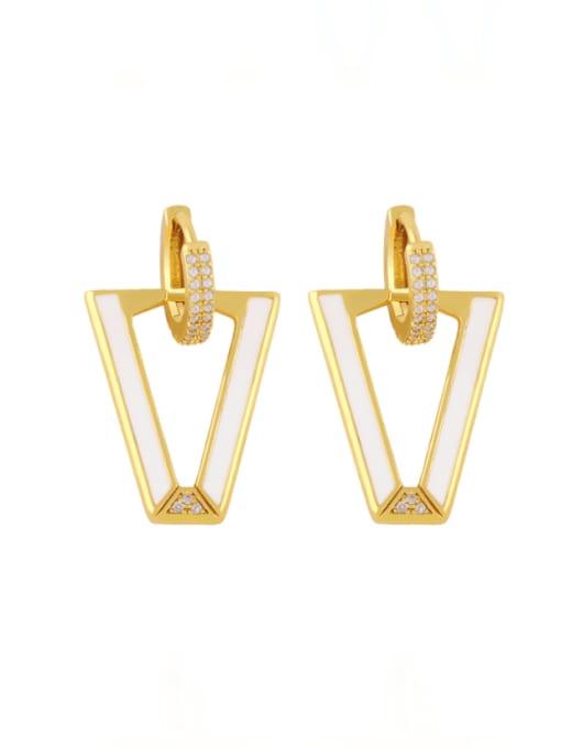 white Brass Enamel Triangle Hip Hop Stud Earring